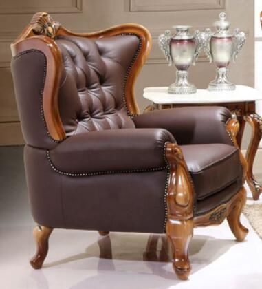 995ESPRESSOC Traditional Style Chair with Crown-like Design on Top   Hand Carved Wooden Frame in Matte Walnut Finish and Genuine Italian Leather Upholstery in