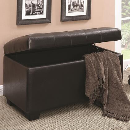500948 Ottomans Storage Ottoman with Leather-Like Vinyl Upholstery  Wooden Legs and Button-Tufted Seating in Dark