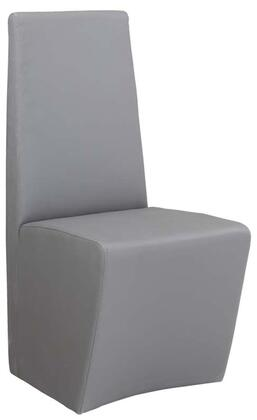 Cynthia Collection CYNTHIA-SC-GRY Fully Upholstered Modern Chair with Stainless Steel Frame and PU Leather Upholstery in Grey
