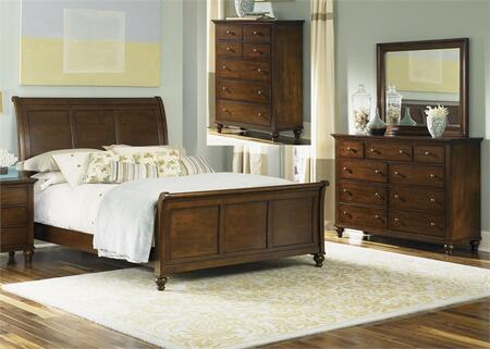 Hamilton Collection 341-BR-KSLDMC 4-Piece Bedroom Set with King Sleigh Bed  Dresser  Mirror and Chest in Cinnamon