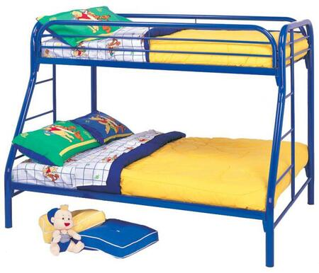 Fordham 2258B Twin Over Full Bunk Bed with Built-In Ladders  Full Length Guard Rails and Two Inch Metal Tubing Construction in Blue