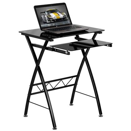 NAN-CP-60-GG Black Tempered Glass Computer Desk with Pull-Out Keyboard