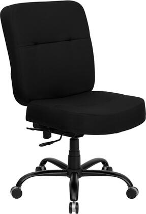 WL-735SYG-BK-GG HERCULES Series 400 lb. Capacity Big & Tall Black Fabric Office Chair with Extra WIDE
