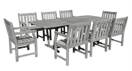 V1294SET20 Renaissance Eco-friendly 9-piece Outdoor Hand-scraped Hardwood Dining Set with Rectangle Extention Table and Arm