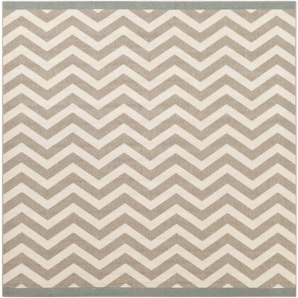 Alfresco ALF9645-89SQ 8'9 inch  Square 100% Polypropylene Rug with Low Pile  Loop Texture  and Machine Made in Egypt in Ivory and