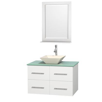 Wcvw00936swhggd2bm24 36 In. Single Bathroom Vanity In White  Green Glass Countertop  Pyra Bone Porcelain Sink  And 24 In.
