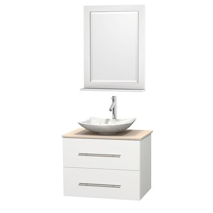 WCVW00930SWHIVGS6M24 30 in. Single Bathroom Vanity in White  Ivory Marble Countertop  Arista White Carrera Marble Sink  and 24 in.