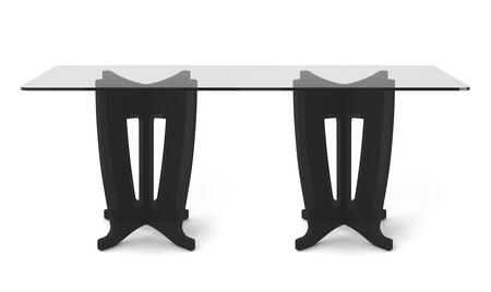 "Jane 2.0 Collection 105453 79"" Rectangle Table with Sleek Tempered Glass Table Top and X Design Base in Black"
