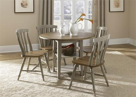 Al Fresco Collection 541-CD-5DLS 5-Piece Dining Room Set with Drop Leaf Table and 4 Slat Back Side Chairs in Driftwood & Taupe