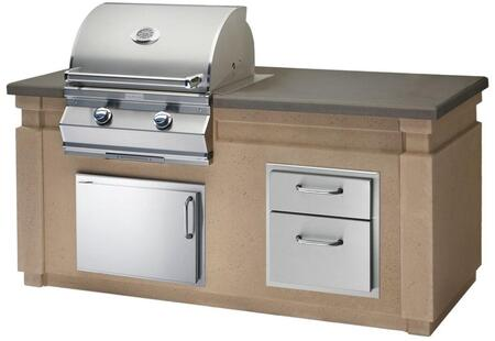Choice Outdoor Kitchen Island Package with C430I1T1N Natural Gas Grill  53802 Double Drawer  33914SL Left Hinge Horizontal Access Door and 53920SL Left Hinge