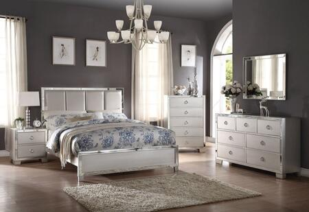 Voeville II Collection 24830QSET 5 PC Bedroom Set with Queen Size Bed + Dresser + Mirror + Chest + Nightstand in Platinum