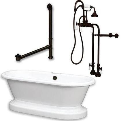 ADEP-398684-PKG-ORB-NH Acrylic Double Ended Pedestal Bathtub 70 inch  x 30 inch  with no Faucet Drillings and Complete Oil Rubbed Bronze Plumbing