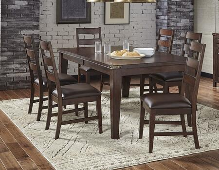 Carter Collection CTRRTDT6SC 7-Piece Dining Room Set with Rectangular Dining Table and 6x Side Chairs in Rich