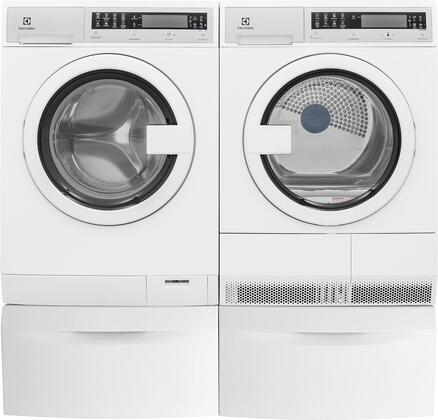 White Compact Front Load Laundry Pair with EFLS210TIW 24 inch  Washer  EFDE210TIW 24 inch  Electric Dryer and 2 EPWD210TIW