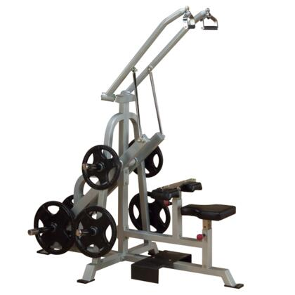 ProClub Line LVLA Leverage Lat Pulldown Machine with 11-Gauge Steel Construction and Gas-Assisted Seat in Silver and