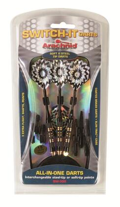 SW-300 Switch-It Dart Set with Six Steel and Six soft 0.25 inch  Tips  Three Quality Brass Barrels  Three Aluminum Shafts  Six 2-D Flights  and SlimTrac