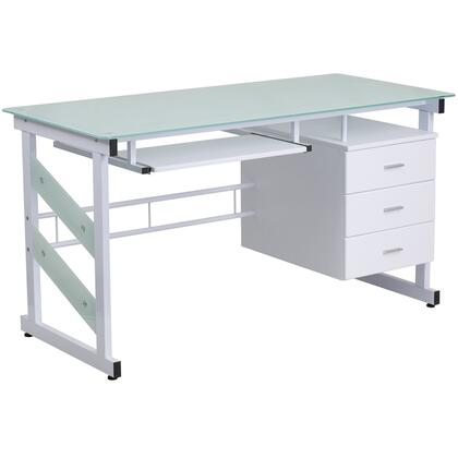 NAN-WK-017-GG White Computer Desk with Three Drawer