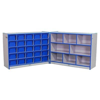 N709552DG-FG Youth Storage Unit Hinged with 25-Tray Cubbie with Locking Hasp and Trays Gray Nebula Finish  Edge Color - Dustin Green  Tray Color - Forest