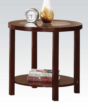 Patia Collection 80189 24 inch  End Table with 5mm Tempered Glass Top Insert  Bottom Shelf  Solid Wood Ring Trim and Poplar Wood Construction in Espresso