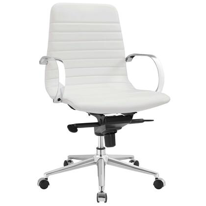 Groove Collection EEI-2859-WHI Office Chair with Swivel Seat  Adjustable Height  Ergonomic Ribbed Sling Back Design  Tension Control Knob  Chrome-Plated