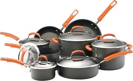 87000 14-Piece Cookware Set  Gray with Orange