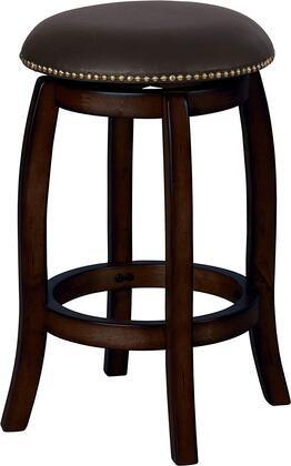 Chelsea Collection 07246 Counter Height Stool with Round Swivel Seat  Nail Head Trim  Footrest Ring  Leather Upholstery and Wood Frame Construction in Black