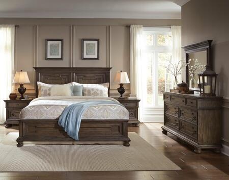 Hamilton S0242505100set 5 Pc Bedroom Set With Queen Size Panel Bed + Dresser + Mirror + 2 Nightstands In Oak