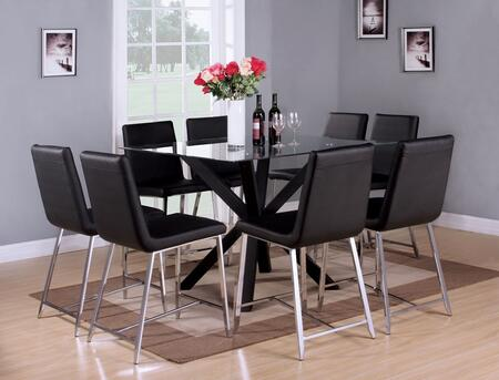 Lenia 71000T8C 9 PC Bar Table Set with Counter Height Table + 8 Chairs in Black and Chrome
