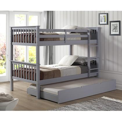 BWTOTMSGY-TR Solid Wood Twin Bunk Bed with Trundle Bed in