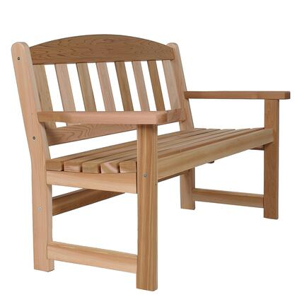 GB48 52 Garden Bench with Shaker Slate Design  Curved Seat and Sanded Routed