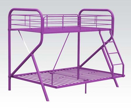 Tracy Collection 37315 Twin Over Full Size Bunk Bed with Right Facing Ladder  Metal Slats  Full-Length Guardrails and R-Shaped Steel Tube Frame in Purple