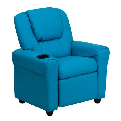 DG-ULT-KID-TURQ-GG Contemporary Turquoise Vinyl Kids Recliner with Cup Holder and 295348