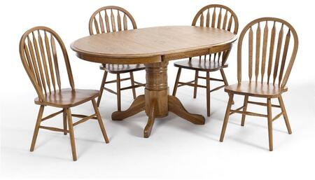 Classic Oak CO-TA-I4260247-CNT-C Dining Room Solid Oak Pedestal Table and 4 Chairs with Distressed Detailing in Chestnut