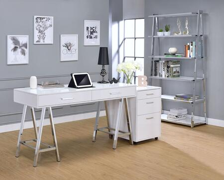Coleen Collection 3 PC Office Furniture with Desk + File Cabinet + Bookshelf in White High Gloss and Chrome