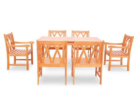 V98SET45 Malibu Eco-friendly 7-piece Outdoor Hardwood Dining Set with Rectangle Table and Arm