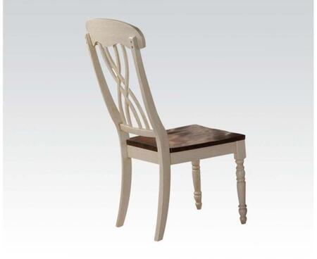 Dylan Collection 70333 Set of 2 Side Chairs with Distressed Detailing  Turned Legs and Tapered Legs in Buttermilk and Oak