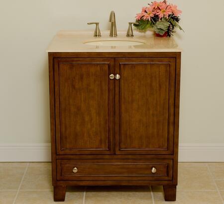 B3581 30 inch  Sassy Bathroom Vanity With 2 Doors  Cream Marble Countertop  Bisque Sink  One Shelf & In Light Brown