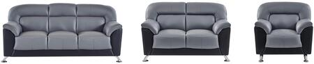U9102DGRBLSOFALC 3 Piece Set including  Sofa and Chair  in Dark Grey and Black
