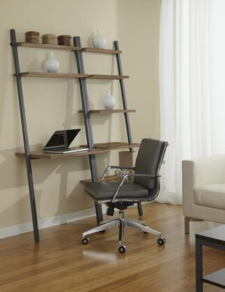 B3071D63-WAL Walnut Leaning Ladder Peninsula Desk in