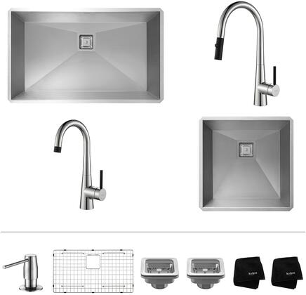 KHU3219272000CH Pax Series 32 inch  and 19 inch  Single Bowl Kitchen Sink with Stainless Steel Construction  Pull-Down Faucet  and Bar Faucet