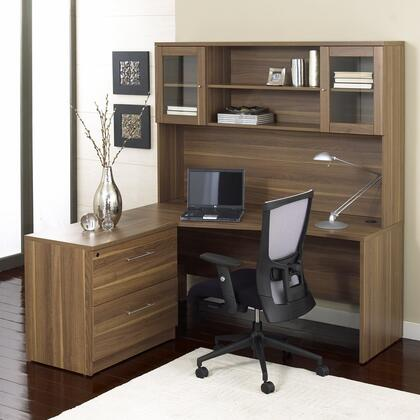 1C100001LWL Walnut Corner L Shaped Desk - Left Side  with Hutch and Lateral