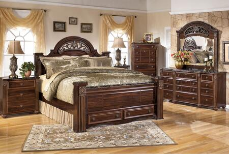 Gabriela King Bedroom Set With Poster Storage Bed  Dresser  Mirror And 3-drawer Nightstand In Dark Reddish