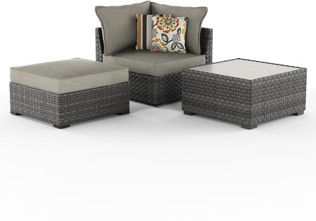 Spring Dew Collection P453-077 3-Piece Outdoor Lounge Set with Square Table  Corner Chair  Ottoman  Removable Cushions  Nuvella Fabric  Resin Wicker and