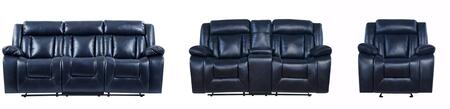 U8036 - AL247-6(BLUE) - RSCRLSGR 3-Piece Living Room Set with Reclining Sofa  Reclining Loveseat and Recliner in Navy