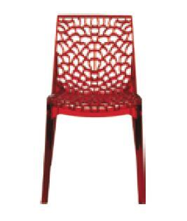 VGIGGRUVYER-REDTRANS Modrest Gruvyer Italian Dining Chair with Stain Resistant  Made in Italy and Made of Polycarbonate in Ruby