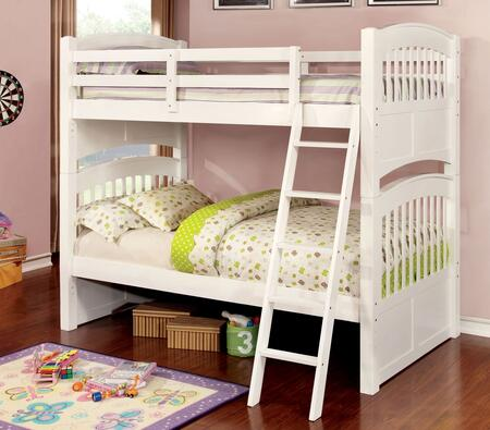 Cassia Collection CM-BK925-BED Twin Size Bunk Bed with Angled Ladder  Slats Top/Bottom  Solid Wood and Wood Veneer Construction in White