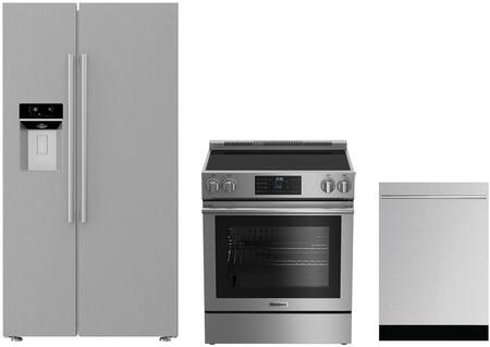3-Piece Kitchen Package with BSBS2230SS 36 inch  Side by Side Refrigerator  BERU30420SS 30 inch  Freestanding Electric Range  and a free DW55502SS 24 inch  Built In Fully