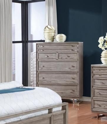 Johnathan Collection 205195 38 inch  Chest with 5 Drawers  Polished Chrome Hardware  White Tempered Glass Top  Ash Veneer and Solid Poplar Wood Construction in