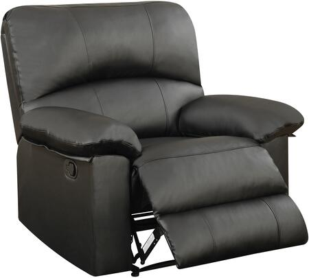 U99270BLACKRECLINER 40 inch  Recliner with Plush Padded Arms and Split Back Cushion in Black