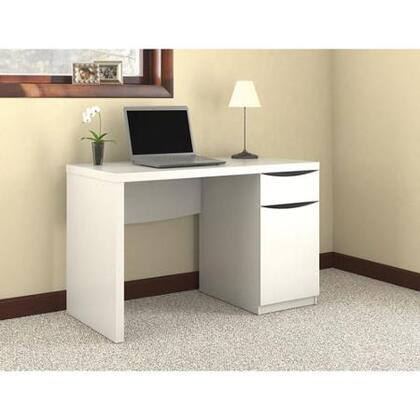 Montrese MY72117-03 Computer Desk with Closed Storage  One Adjustable Shelf and Smooth Ball Bearing Slides in Pure White